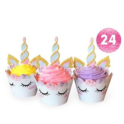 24 Unicorn Cupcake Toppers With Double Sided Cupcake Wrappers.