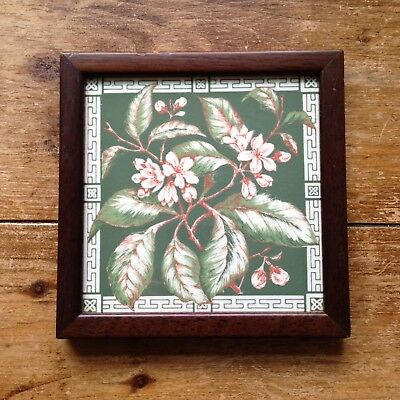 Vintage Framed Tile Trivet Teapot Stand Floral Blossom Leaves - William Morris