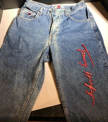 RARE! 1998 Tommy Hilfiger Tommy Freedom Jeans SIGNED Red RUBBER LOGO on Leg