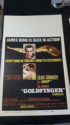 """GOLDFINGER"" ORIG 1964 007 BOND. Window Card  14 x 22 VF"