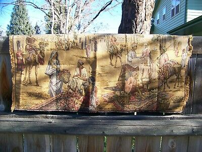 Antique Middle Eastern Scene Tapestry Made In Belgium 1900-1920