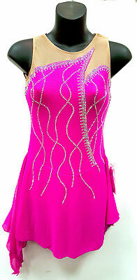 New Competition Figure Skating Dress Navy Colour 100's AB Crystals Adult AXS 16
