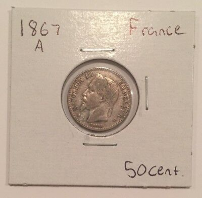 1867 A France 50 Centimes Silver Coin VF