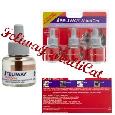 🐯Feliway MultiCat Refills For Cats & Kittens 3 Pack Ex5/20{Brand New}🐯
