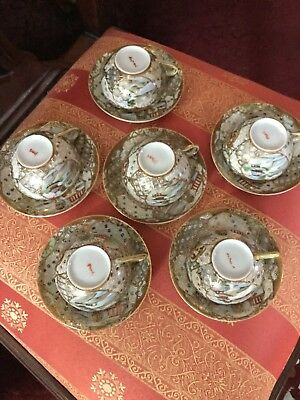 Satsuma Antique Tea Set Cups And Saucers~Heavy Gold~Excellent
