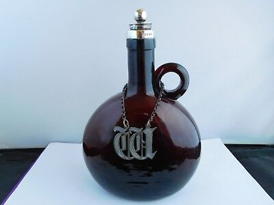 Superb Victorian Silver Mounted Whiskey / Wine Flagon /Decanter - Angell Bros