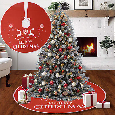 90/120cm Christmas Tree Skirt Red Base Floor Mat Cover Xmas Party Decorations