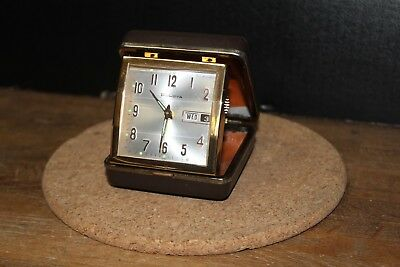 Vintage Bulova Wind-Up Travel Alarm Clock with Glow Hands, Compact Case, Working