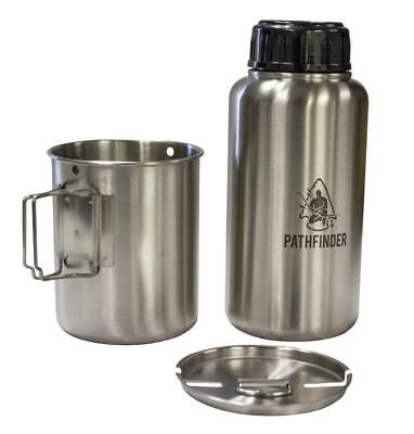 Pathfinder 32Oz Stainless Steel Water Bottle & Nesting Cup Set Bushcraft Camping
