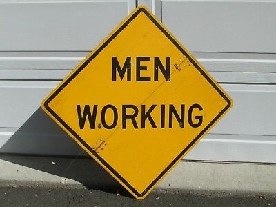 """Vintage Sign, Men Working, safety yellow, black graphics, large 30""""x30"""", folds"""