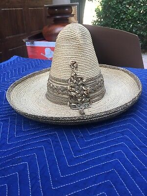 Wonderful Pair Of Mexican Straw Antique High Crown Sombreros