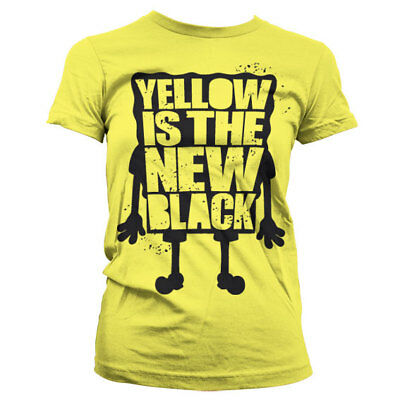 Official SpongeBob Squarepants - Yellow Is The New Black Girly Fitted T-Shirt