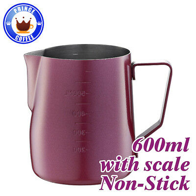 Tiamo Stainless Steel Milk Pitcher Jug Non-Stick 20oz 600ml with Scale, Red