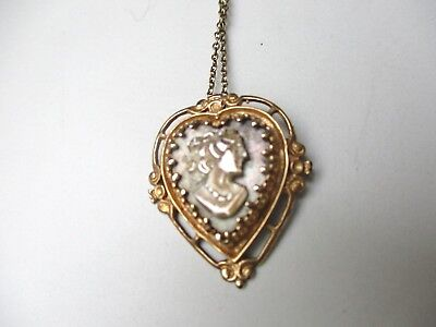 *ANTIQUE VICTORIAN/EDWARDIAN 14k SOLID GOLD HEART +GRAY CAMEO + CHAIN NECKLACE