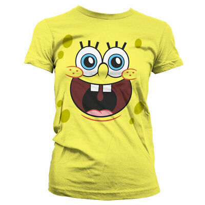 Official SpongeBob Squarepants - Sponge Happy Face Girly Ladies Fitted T-Shirt
