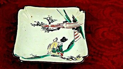ANTIQUE 19c JAPANESE PAINTED PORCELAIN BOWL,TRAY, SQUARE SCALOPED CORNERS,MARKED