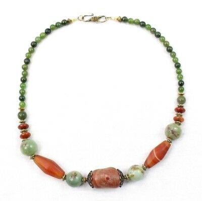 """Antique Carnelian and Jade Necklace Large Chunky Beads Estate Jewelry 19"""" J013"""
