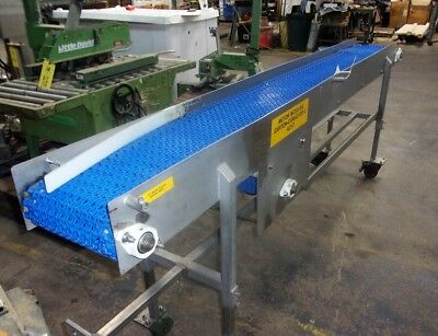 12 Inch X 112 Inch Stainless Steel Sanitary Blue Intralox Conveyor