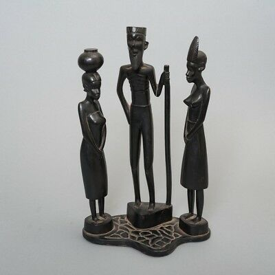 """Antique West African Carved Ebony Wood Statue of Man & Women Approx. 14.25"""" Tall"""