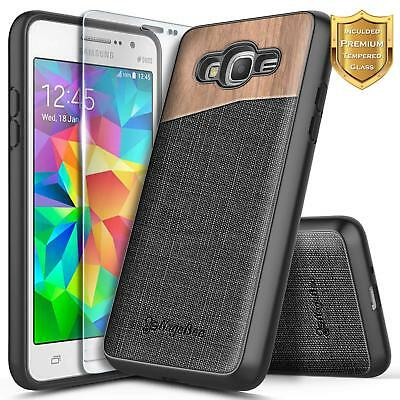 For Samsung Galaxy J2 Prime/Go Prime Case | Shockproof Wood Canvas Hybrid Cover
