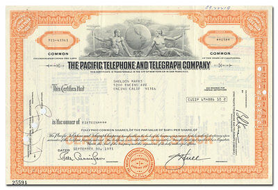 Pacific Telephone and Telegraph Company Stock Certificate (Pac Bell)