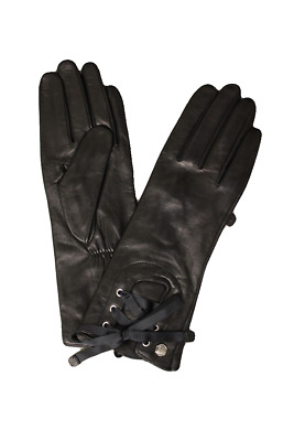 Vince Camuto Women's Black Leather Lace-Up Gloves, Size L