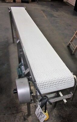 12 Inch X 101 Inch Stainless Steel Sanitary White Intralox Belt Conveyor