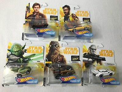 Star Wars Yoda Collector Hot Wheels Die Cast Character Cars, New  Lot Of 5