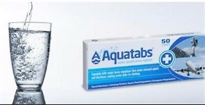 Aquatabs 10 1 lt Water Purification Tablets Drink Treatment Hiking Camping 8.5mg
