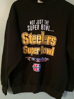 Pittsburgh Steelers Super Bowl Crewneck Sweatshirt Black Large