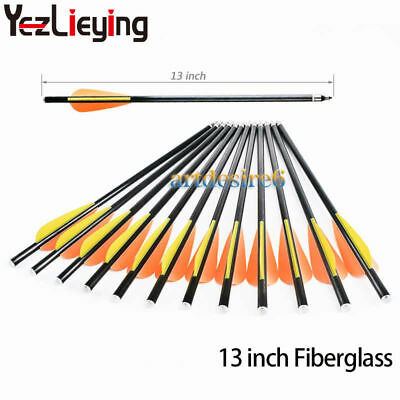 12pcs 13'' Archery Fiberglass Shaft Arrows Alumium Nock Tips Crossbow Bolts Hunt