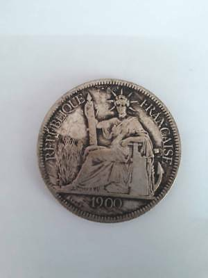 1900 French Indochina Silver 1 Piastre Coin Nice