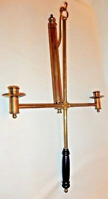 """Mystical Brass Dual Candle Holder To Hang On Wall Or Carry With Handle 26"""" X 16"""""""