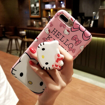 Pop Up Hello Kitty Doll Stand Holder Case Cover for iPhone XS Max XR 6S 7 8 Plus