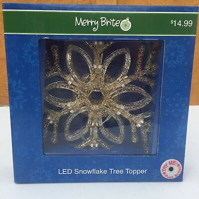 🔴Merry Brite LED Snowflake Christmas Tree Topper Decoration Light Gold Indoor