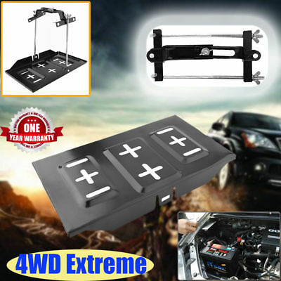 Universal Metal Car Battery Tray Adjustable Hold Down Clamp Kit 135-190mm Black