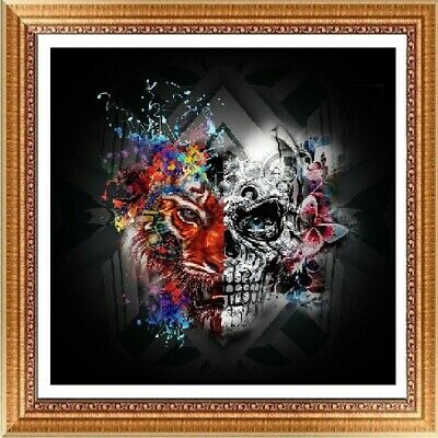 AU Skull Tiger DIY 5D Full Diamond Painting Embroidery Cross Stitch Decor HN