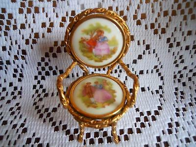 Beautiful French Limoges Veritable Miniature Chair. The Progress Of Love Theme!
