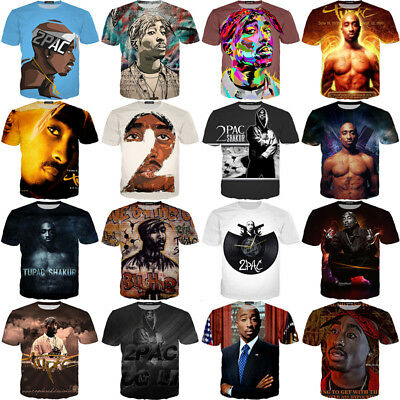 Tupac 2PAC Print Women Men Hip Hop Rapper 3D Casual T-Shirt Shoet Sleeve Tee Top