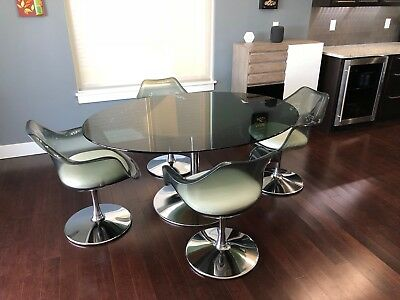 Chromcraft Oval Smoked Lucite and Chrome Table Tulip Dining Set
