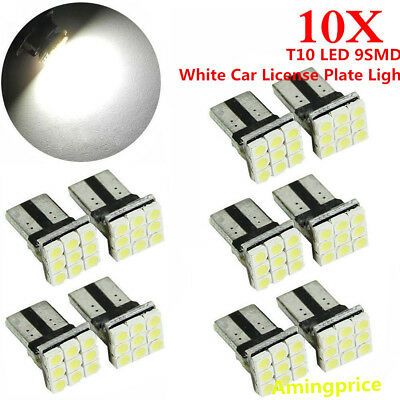 10x T10 LED 9SMD White Car License Plate Light Tail Bulb 2825 192 194 168 W5W na
