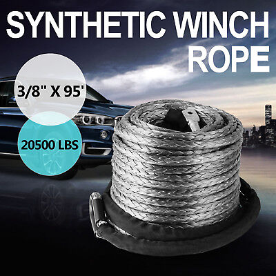"""10mm*29m 3/8""""X 95' Winch Synthetic Line Cable Rope 20500 LBs W/ Thimble Sleeve"""