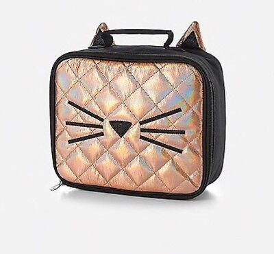 NWT Justice Quilted Cat Lunchbox / Tote with Ears!