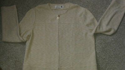 St. John Collection Marie Gray  Beige Knit  Zip Up Jacket Size 10