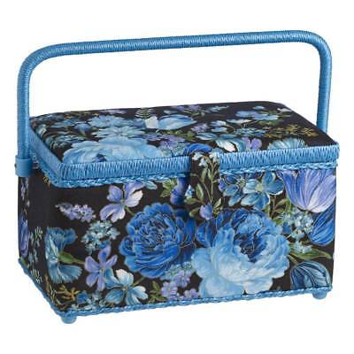 Large Craft Padded Blue/black Flowers  Sewing Box New With Handle Compartment