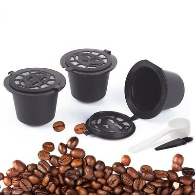 3Pcs Refillable Reusable Coffee Capsules Pods For Nespresso Machines Spoon&Brush