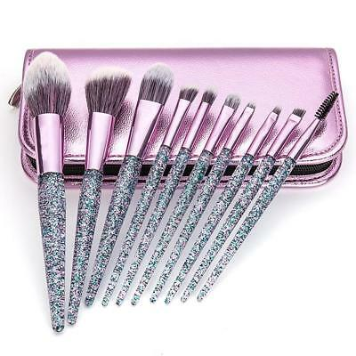 10Pcs Makeup Brush Set Cosmetic Powder Foundation Eyeshadow Brushes + Carry Bag