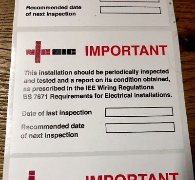 Next Inspection Periodic Test Labels/Stickers NICEIC 100x75mm X 50