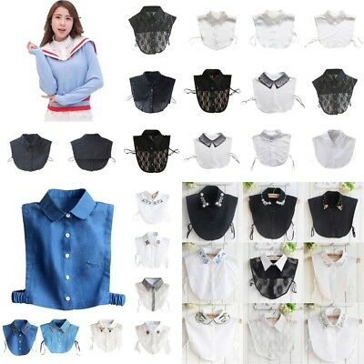 US Women False Collar Detachable Fake Half Shirt Blouse Vintage Lace Collar Bib