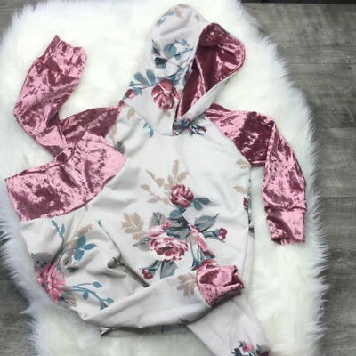 2Pcs Toddler Kids Baby Girl Floral Hooded Tops Pants Autumn Outfits Clothes 1-6T